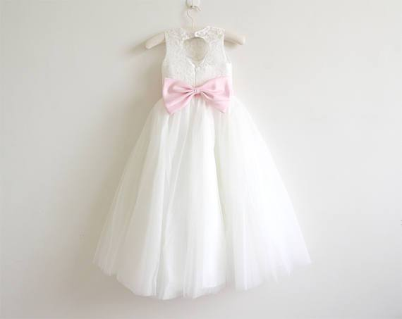 BohoProm Flower Girl Dresses Wonderful Lace & Tulle Jewel Neckline knee-length A-line Flower Girl Dresses FD012