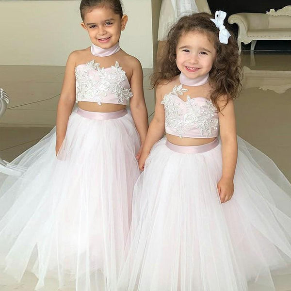 BohoProm Flower Girl Dresses Wonderful Tulle & Satin High-neck Neckline 2 Pieces Ball Gown Flower Girl Dresses FD079