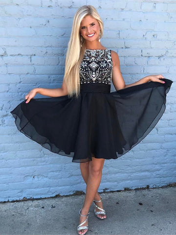 BohoProm homecoming dresses A-line Bateau Mini Chiffon Short Black Homecoming Dresses With Rhine Stones APD2733