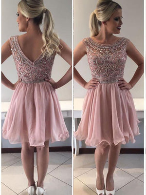 BohoProm homecoming dresses A-line Bateau Mini Organza Rhine Stone Homecoming Dresses 2807