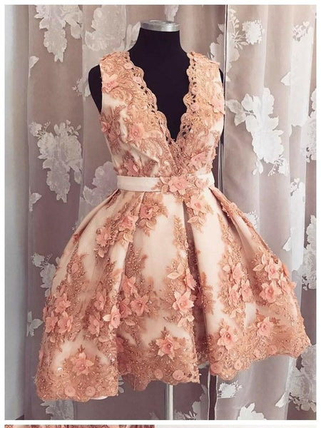 BohoProm homecoming dresses A-line Deep-V Mini Tulle Appliqued Rhine Stone Homecoming Dresses ASD2636