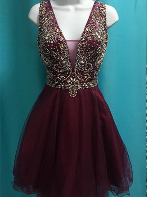 BohoProm homecoming dresses A-line Deep-V Mini Tulle Short Burgundy Homecoming Dresses With Sequins APD2725