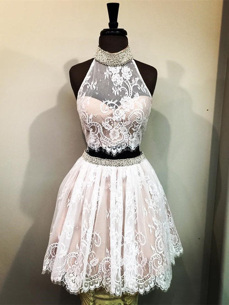 BohoProm homecoming dresses A-line Halter Mini Lace Short Two Piece Homecoming Dresses With Beading APD2729