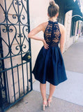BohoProm homecoming dresses A-line Halter Mini Satin Navy Blue Homecoming Dresses With Appliques APD2615