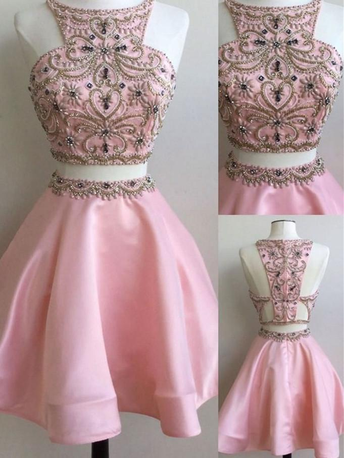 BohoProm homecoming dresses A-line Halter Mini Satin Pink Homecoming Dresses With Beading HX0043