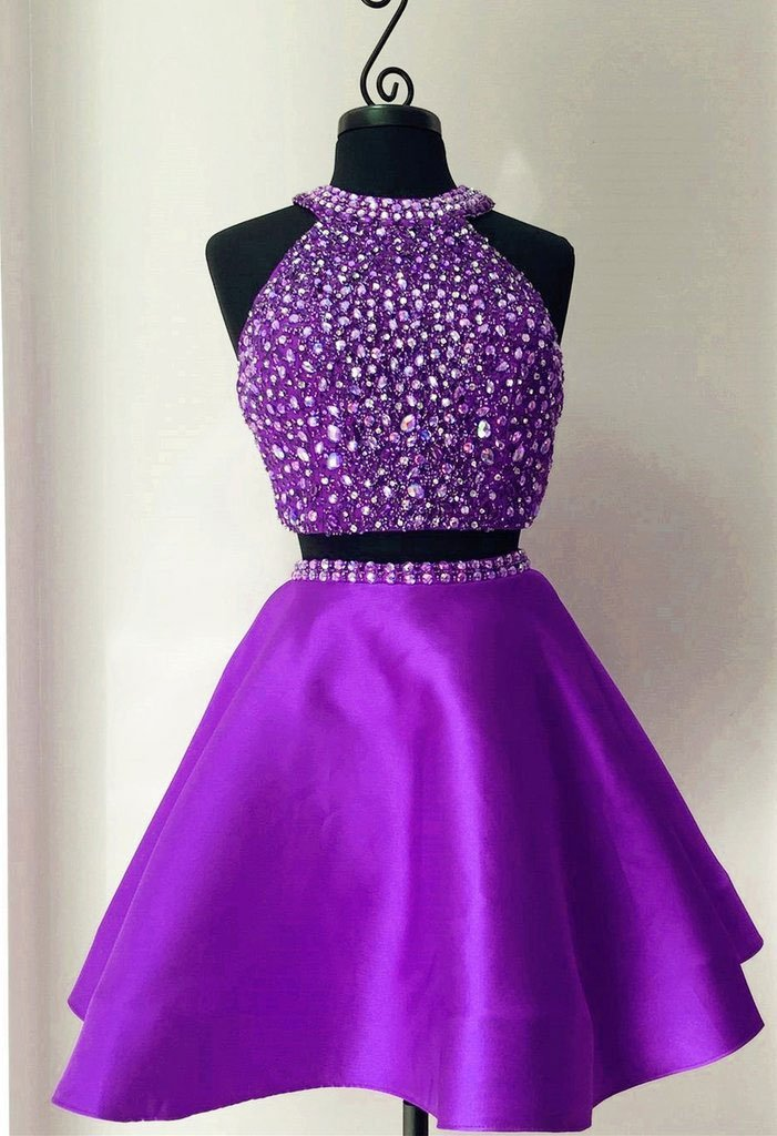 BohoProm homecoming dresses A-line Halter Mini Satin Red/Royal Blue/Purple Two Piece Homecoming Dresses With Rhine Stones APD2627