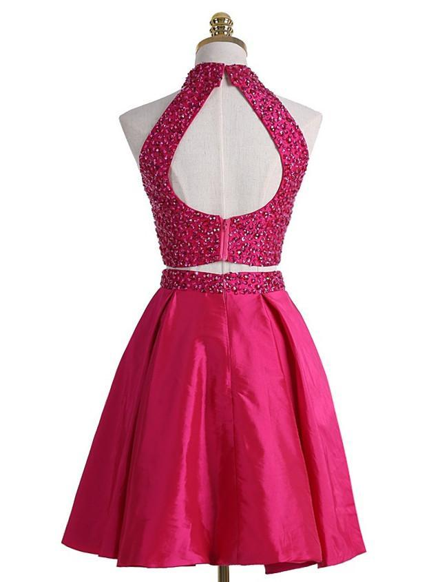 BohoProm homecoming dresses A-line Halter Mini Satin Short Fuchsia Two Piece Homecoming Dresses With Rhine Stones APD2727