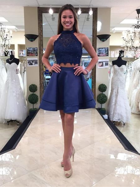 BohoProm homecoming dresses A-line Halter Mini Satin Short Royal Blue Homecoming Dresses With Beading APD2738