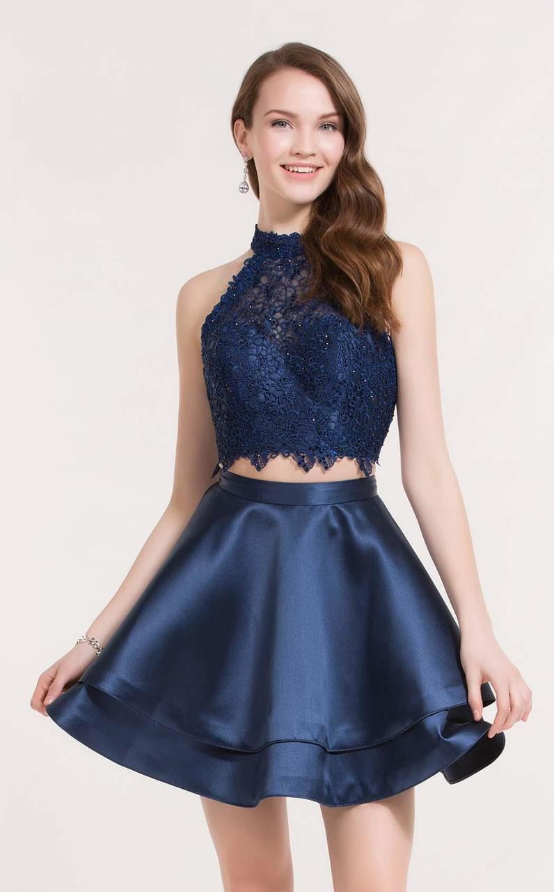 BohoProm homecoming dresses A-line Halter Mini Satin Short Two Piece Sky Blue Homecoming Dresses APD2664