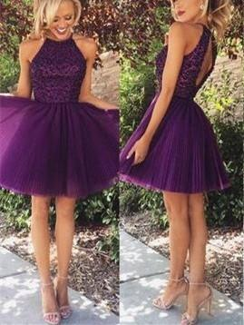 BohoProm homecoming dresses A-line Halter Mini Tulle Beaded Purple Homecoming Dresses HX00181