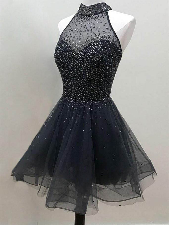 BohoProm homecoming dresses A-line Halter Mini Tulle Short Black Homecoming Dresses  WIth Sequins HX0047