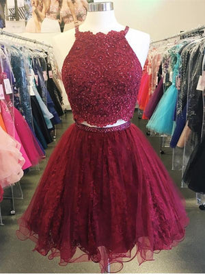 BohoProm homecoming dresses A-line Halter Mini Tulle Short Burgundy Homecoming Dresses With Beading APD2743