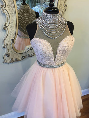 BohoProm homecoming dresses A-line High-Neck Mini Lace Short Pink Homecoming Dresses With Rhine Stones APD2730