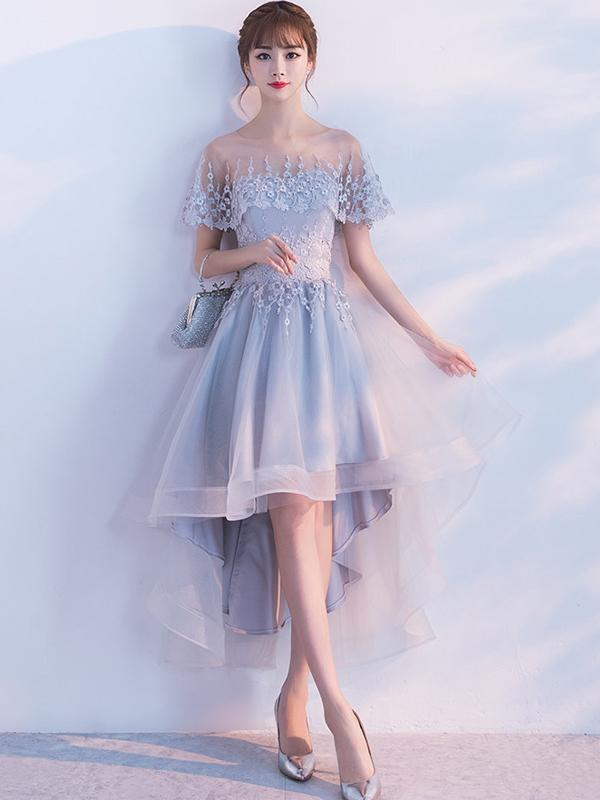 BohoProm homecoming dresses A-line Illusion High-Low Tulle Lace Homecoming Dresses ASD26953