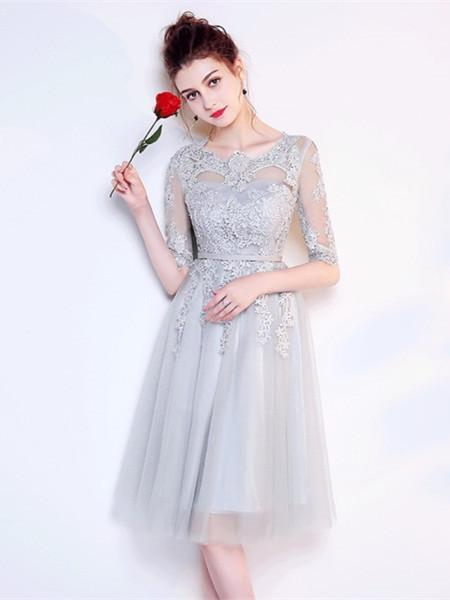 BohoProm homecoming dresses A-line Illusion Mini Tulle Lace Homecoming Dresses ASD2578