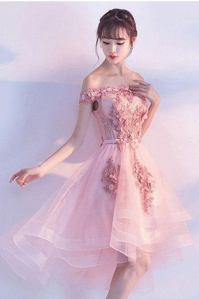 BohoProm homecoming dresses A-line Off-Shoulder High-Low Tulle Appliqued Pink Homecoming Dresses APD26912