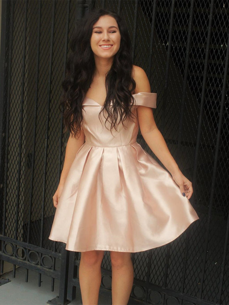 BohoProm homecoming dresses A-line Off-Shoulder Mini Satin Short Pearl Pink Simple Homecoming Dresses APD2739