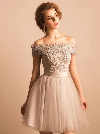 BohoProm homecoming dresses A-line Off-Shoulder Mini Tulle Appliqued Beaded Homecoming Dresses APD2644