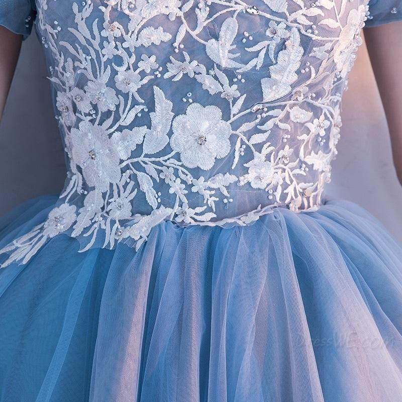BohoProm homecoming dresses A-line Off-Shoulder Mini Tulle Short Beaded Homecoming Dresses With Appliques APD2658