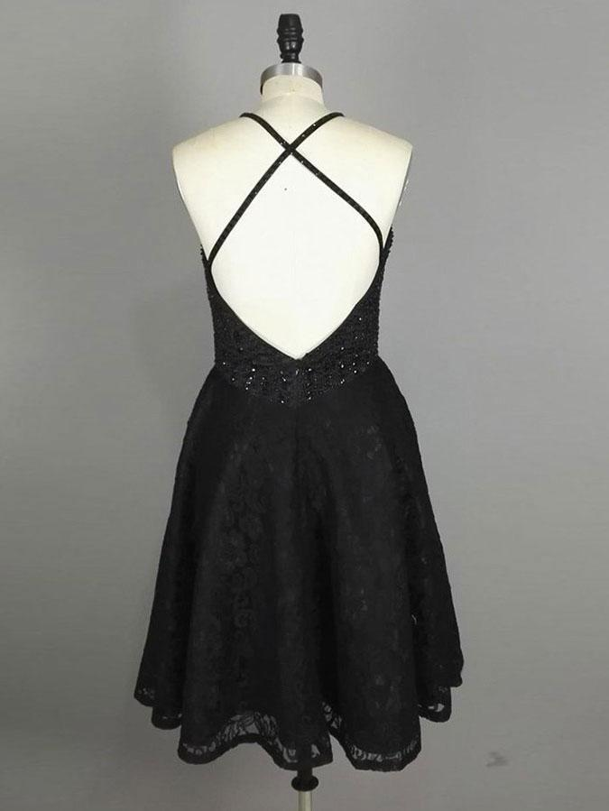 BohoProm homecoming dresses A-line Scoop-neck Mini Lace Short Black Homecoming Dresses With Rhine Stones APD2700