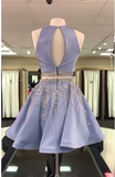 BohoProm homecoming dresses A-line Scoop-Neck Mini Satin Short Two Piece Homecoming Dresses With Rhine Stones APD2746