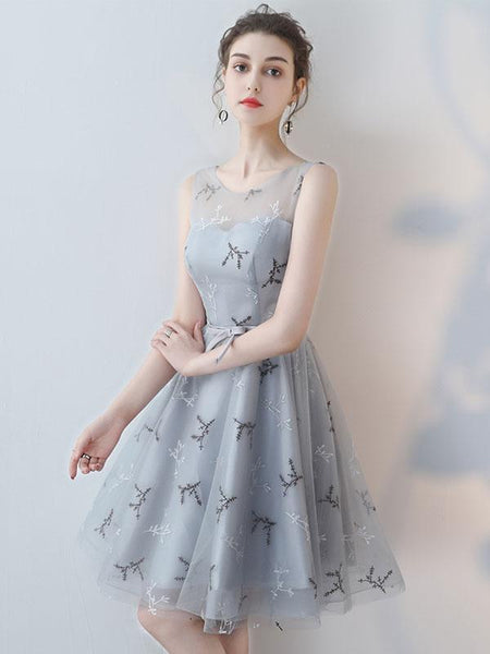BohoProm homecoming dresses A-line Scoop-Neck Mini Tulle Gray Homecoming Dresses ASD26954