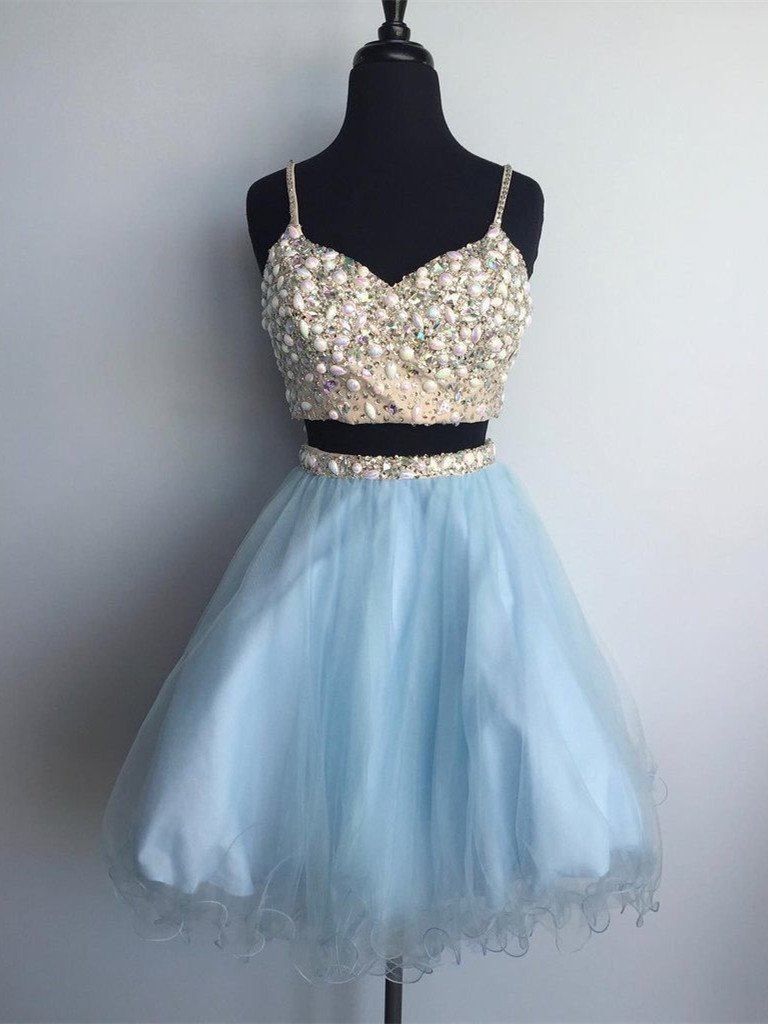 BohoProm homecoming dresses A-line Spaghetti Strap Mini Tulle Short Sequined Homecoming Dresses APD2662