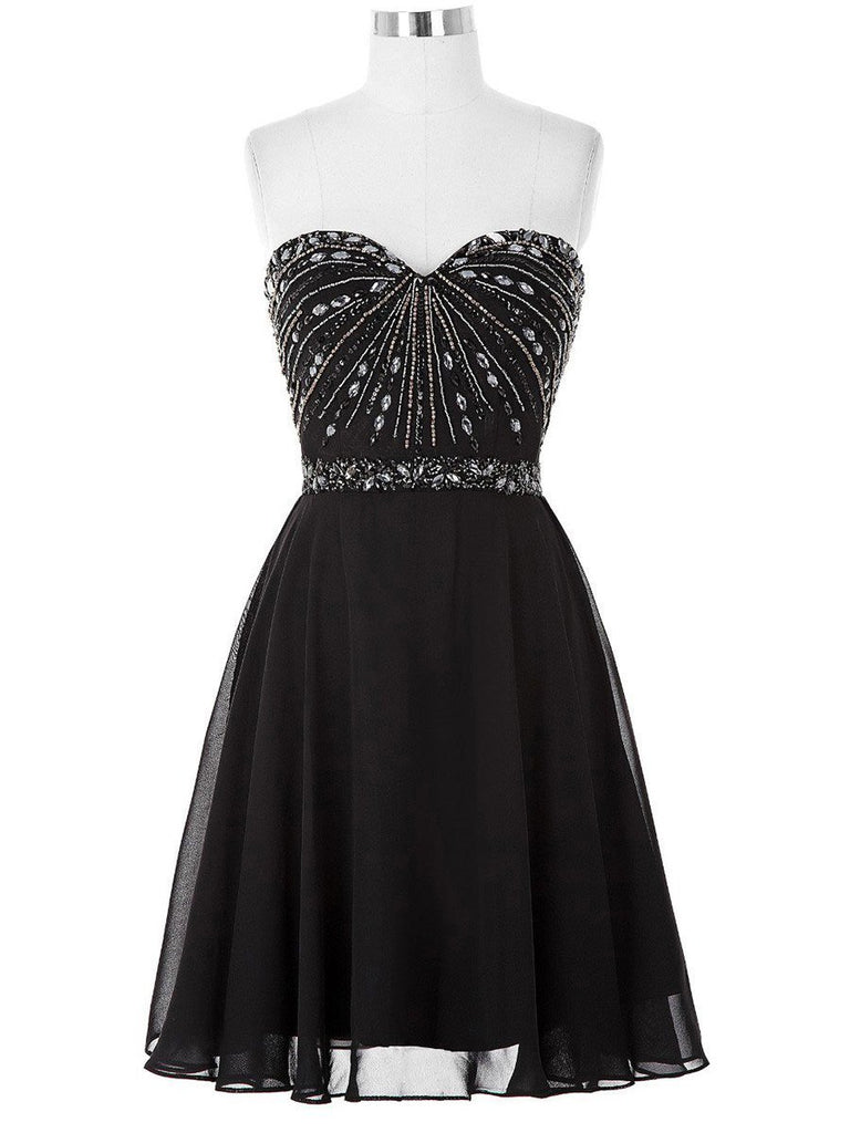 BohoProm homecoming dresses A-line Sweetheart Mini Chiffon Black Homecoming Dresses With Rhine Stones APD2609