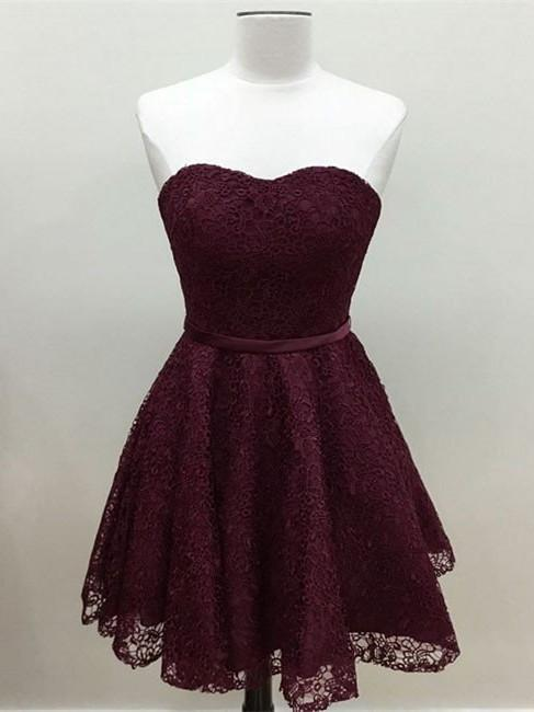 BohoProm homecoming dresses A-line Sweetheart Mini Lace Short Burgundy Simple Homecoming Dresses APD2735