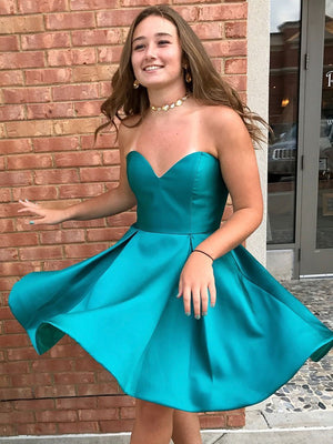 BohoProm homecoming dresses A-line Sweetheart Mini Satin Short Jade Simple Homecoming Dresses APD2761