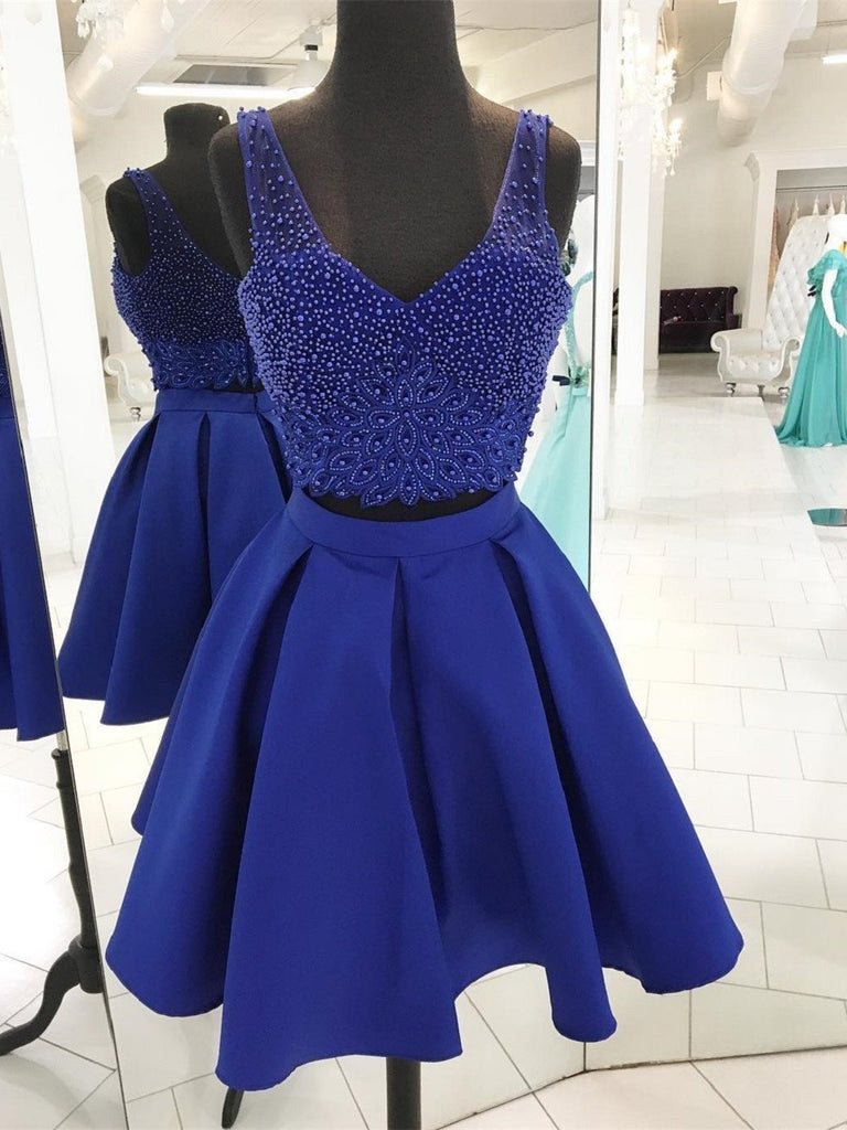BohoProm homecoming dresses A-line Sweetheart Mini Satin Short Royal Blue Homecoming Dresses With Rhine Stones APD2723