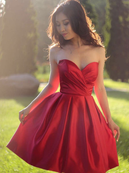 BohoProm homecoming dresses A-line Sweetheart Mini Satin Short Simple Red Homecoming Dresses APD2698