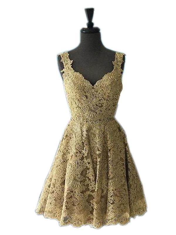 BohoProm homecoming dresses A-line Sweetheart Mini Tulle Appliqued Gold Homecoming Dresses With Rhine Stones ABC00038