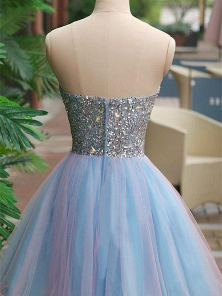 BohoProm homecoming dresses A-line Sweetheart Mini Tulle Ombre Sequined Homecoming Dresses HX00182