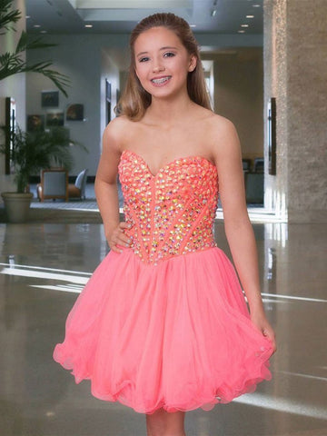 BohoProm homecoming dresses A-line Sweetheart Mini Tulle Watermelon Homecoming Dresses With Sequins ABC00036