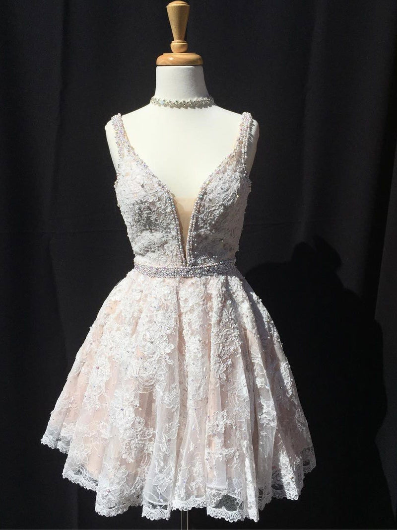 BohoProm homecoming dresses A-line V-neck Mini Lace Short Ivory Homecoming Dresses With Beading APD2699