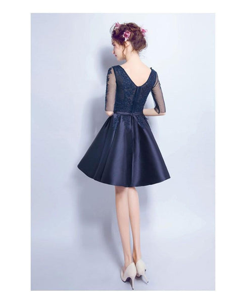 BohoProm homecoming dresses A-line V-Neck Mini Satin Short Appliqued Homecoming Dresses APD2764