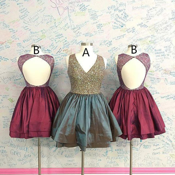 BohoProm homecoming dresses A-line V-neck Mini Taffeta Short Homecoming Dresses With Sequins APD2645