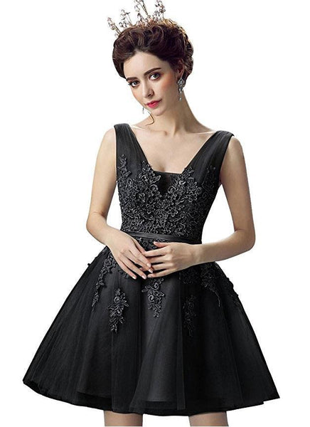 BohoProm homecoming dresses A-line V-Neck Mini Tulle Appliqued Homecoming Dresses 2775