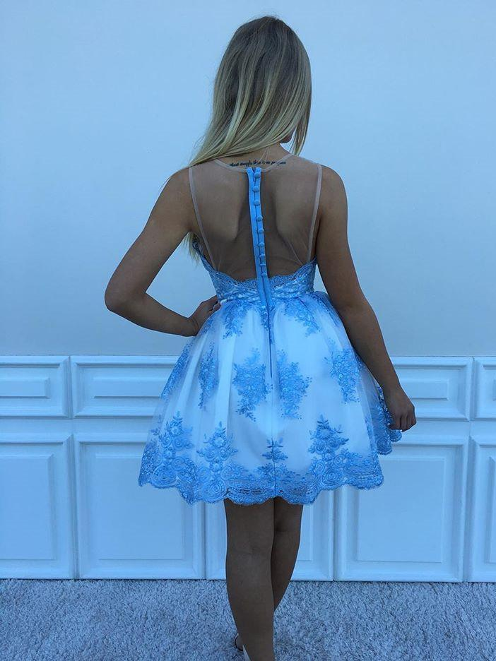 BohoProm homecoming dresses Alluring Lace Jewel Neckline Short Length A-line homecoming Dress With HD094
