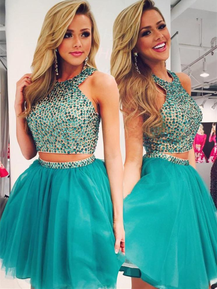 BohoProm homecoming dresses Alluring Tulle Jewel Neckline 2 Pieces Ball Gown Homecoming Dresses With Rhinestones HD024