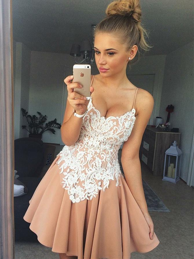 BohoProm homecoming dresses Attractive Satin Spaghetti Straps Neckline A-line Homecoming Dresses HD202