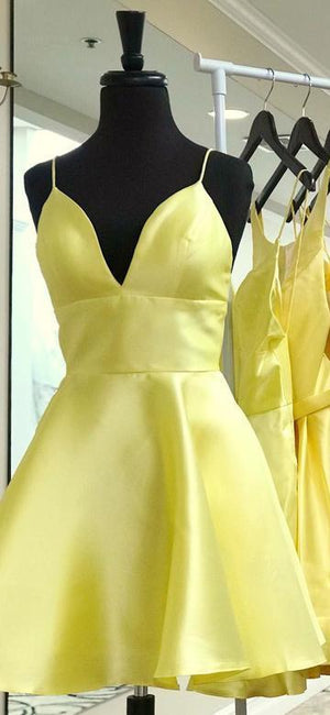 BohoProm homecoming dresses Attractive Satin Spaghetti Straps Neckline Short A-line Homecoming Dresses HD171
