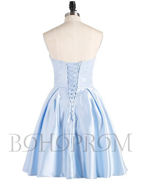 BohoProm homecoming dresses Attractive Satin Strapless Neckline Short A-line Homecoming Dresses HD155