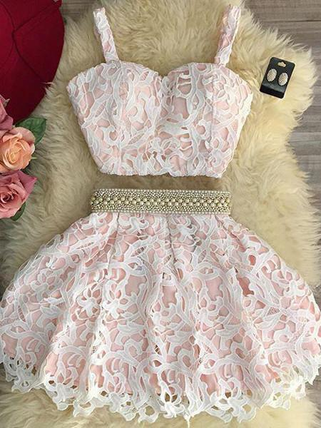 BohoProm homecoming dresses Beautiful Lace Spaghetti Straps Neckline 2 Pieces Ball Gown Homecoming Dress HD020