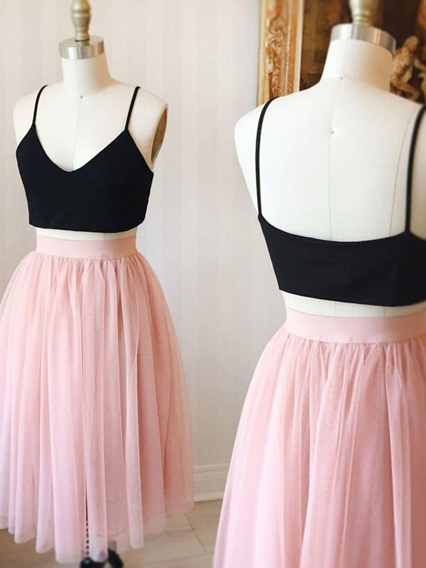 BohoProm homecoming dresses Brilliant Tulle Spaghetti Straps Neckline 2 Pieces A-line Homecoming Dress HD065