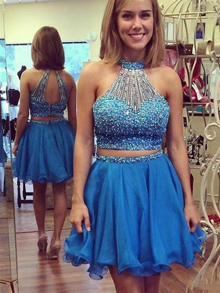 BohoProm homecoming dresses Charming Chiffon Jewel Neckline 2 Pieces A-line Homecoming Dresses With Beadings HD084