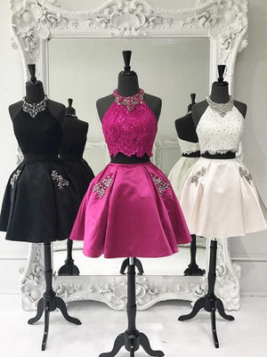 BohoProm homecoming dresses Charming Satin Halter Neckline 2 Pieces Ball Gown Homecoming Dresses With Rhinestones HD075