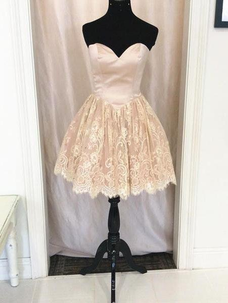 BohoProm homecoming dresses Charming Satin & Lace Sweetheart Neckline Short Length A-line Homecoming Dress HD055