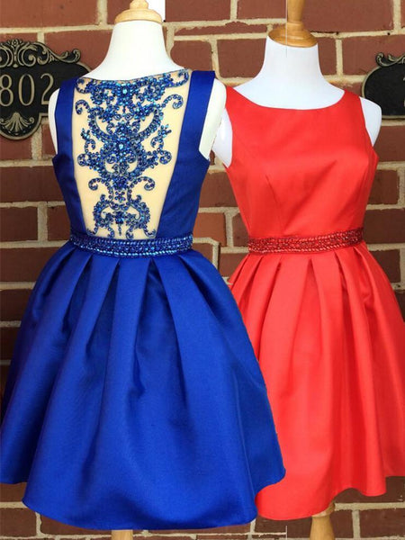BohoProm homecoming dresses Charming Satin Scoop neckline Short Length A-line Homecoming Dresses With Beadings HD013